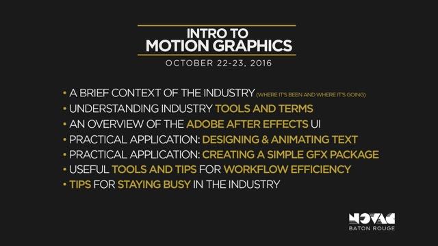 Intro to Motion Graphics – NOVAC